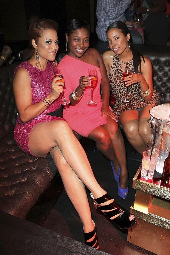 Shaunie O'Neil toasting with friends at Gallery Nightclub