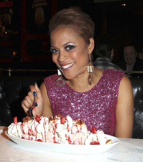 Shaunie O'Neill enjoying the Strawberry Cheesecake Overload Sundae at Sugar Factory in Las Vegas
