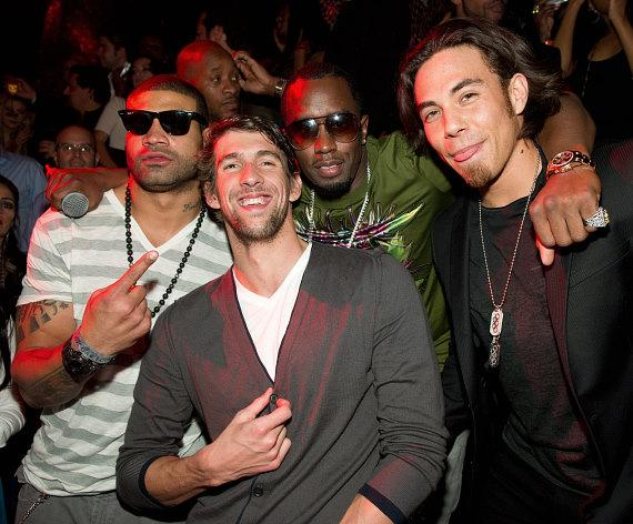 Shawne Merriman, Michael Phelps, Diddy and Apolo Ohno at TAO
