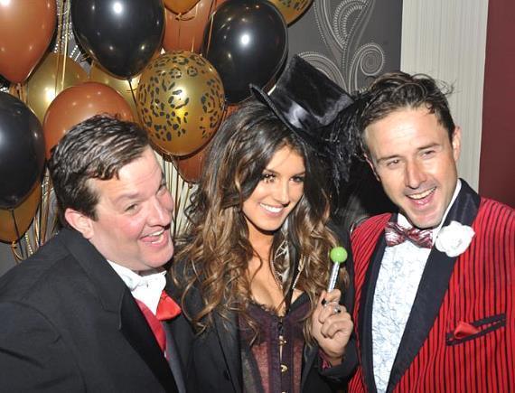 Shenae Grimes with Sugar Factory's Couture Pop, posing with Jeff Beacher and David Arquette