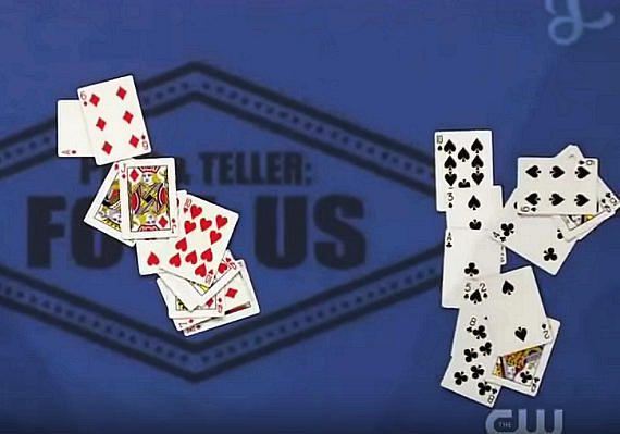 Rick's trick involved memorizing the order of a shuffled deck, selecting a portion of the deck, cutting the into stacks of size chosen by Penn & Teller and then separating the stack into black and red piles without looking at the faces of the cards.