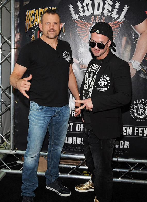 UFC fighter Chuck Liddell with Mike 'The Situation' Sorrentino at Headrush Booth at MAGIC