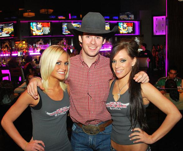 PBR Bullriding Star Luke Snyder with PBR Girls Trina Naughton and Jena Carpin