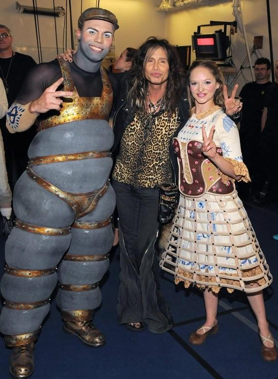 Steven Tyler with cast members of The Beatles LOVE by Cirque du Soleil