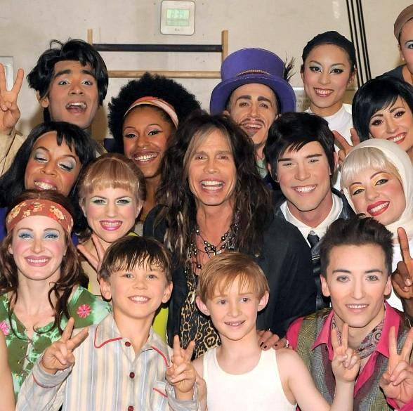 Steven Tyler with cast of The Beatles LOVE by Cirque du