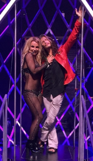 "Singer Steven Tyler spotted at ""Britney: Piece of Me"" at Planet Hollywood Resort & Casino"