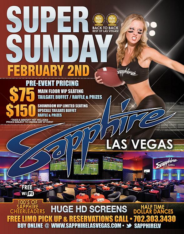 "Super Sunday is Back & Better Than Ever at Sapphire Las Vegas! Watch the Super Bowl on 100"" Screens with the Sapphire Cheerleaders!"