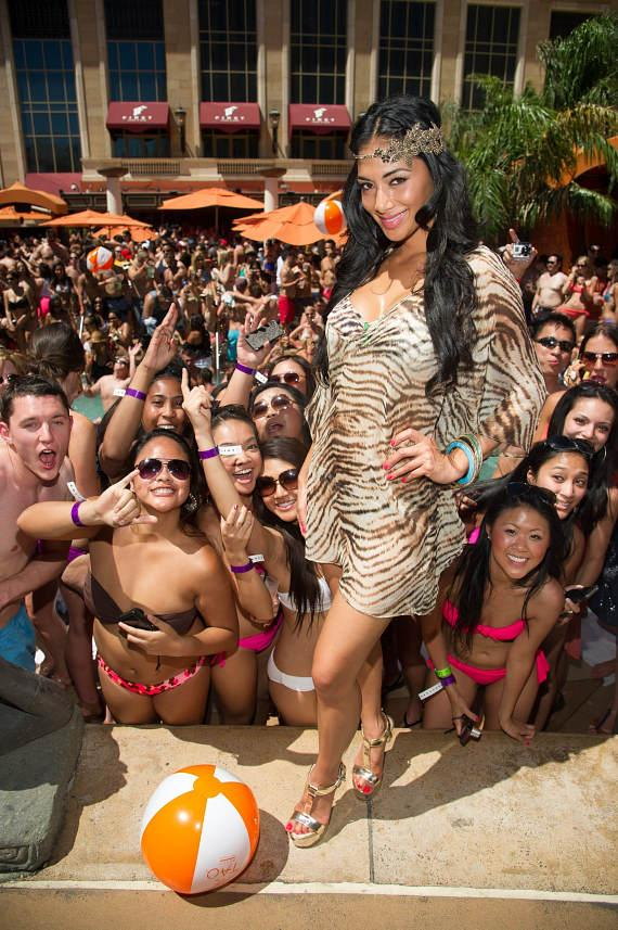 Nicole Scherzinger with fans at TAO Beach
