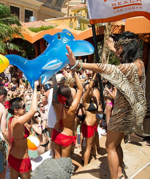 Nicole Scherzinger with blow up animals at TAO Beach