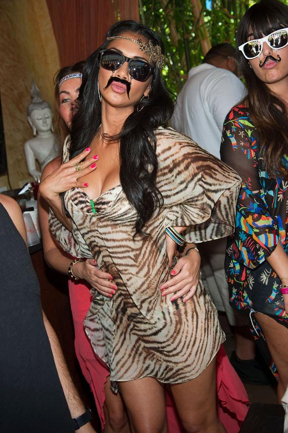 "Nicole Scherzinger with ""mustache glasses"" at TAO Beach"