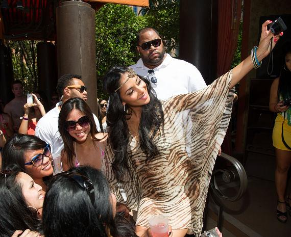 Nicole Scherzinger and fans at TAO Beach