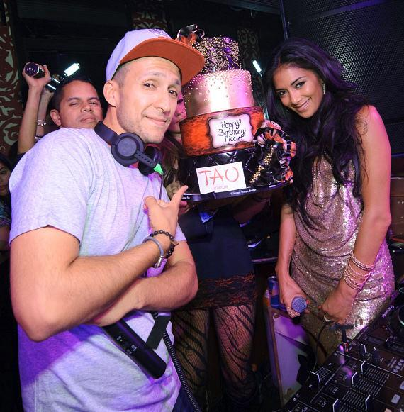 DJ Vice and Nicole Scherzinger with birthday cake TAO