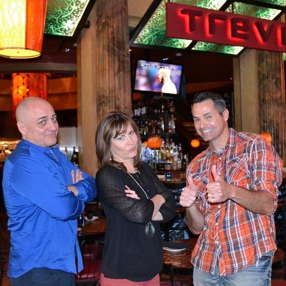 Doug Elfman, Beth Fisher and Dave Hall in front of TREVI Italian Restaurant