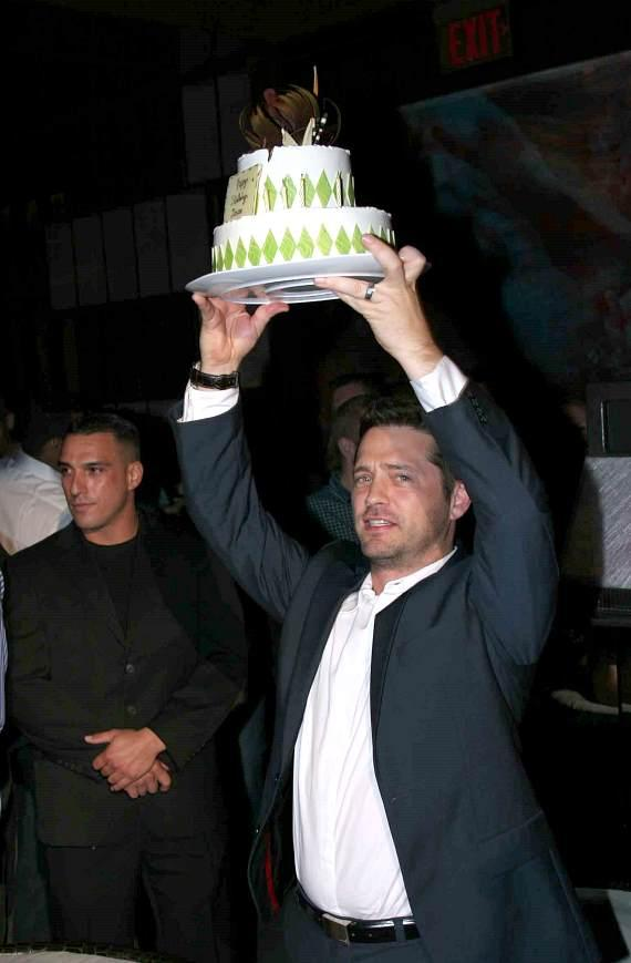 Jason Priestley with birthday cake at Tabu