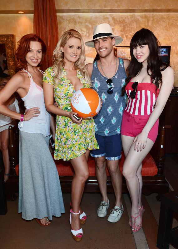 Tara Palsha, Holly Madison, Josh Strickland and Claire Sinclair at TAO Beach season opening