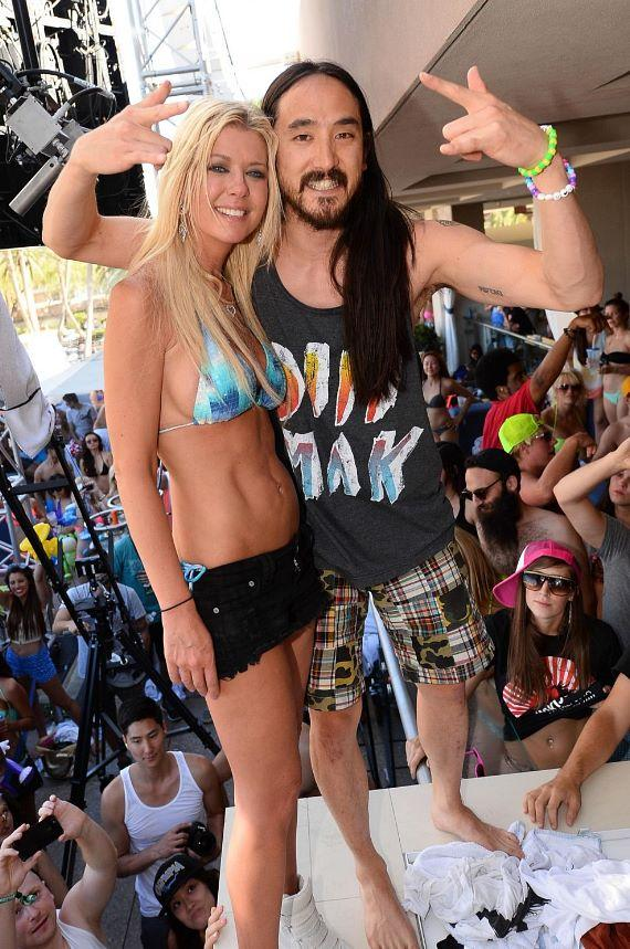 Tara Reid and Steve Aoki at Wet Republic
