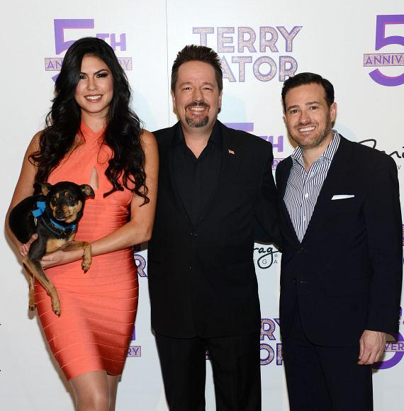 Taylor Makakoa (with dog Ziggy), Terry Fator with Vice President of Hotel Operations for The Mirage Hotel & Casino Franz Kallao