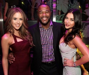 UFC Fighter Rashad Evans with Arianny Celeste and Brittney Palmer at The Bank Nightclub in Las Vegas