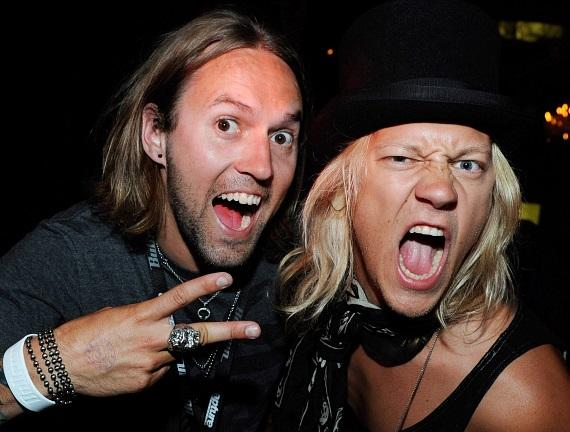 (L) Hannu-Pekka Parviainen and (R) Jukka Hilden of The Dudesons at Gallery Nightclub at Planet Hollywood Resort & Casino in Las Vegas