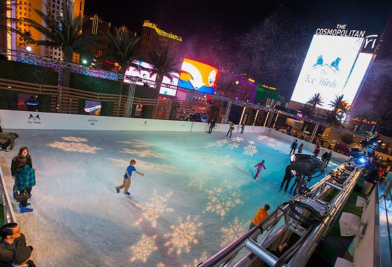 Snow falls at The Ice Rink at The Cosmopolitan of Las Vegas