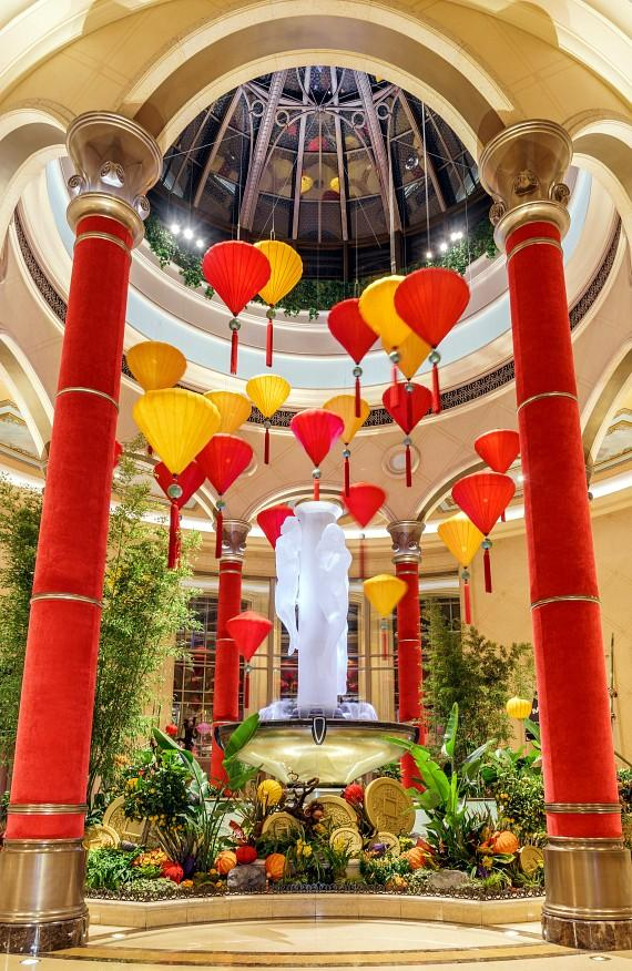 The Palazzo lobby also features lanterns and handcrafted monkeys for Chinese New Year
