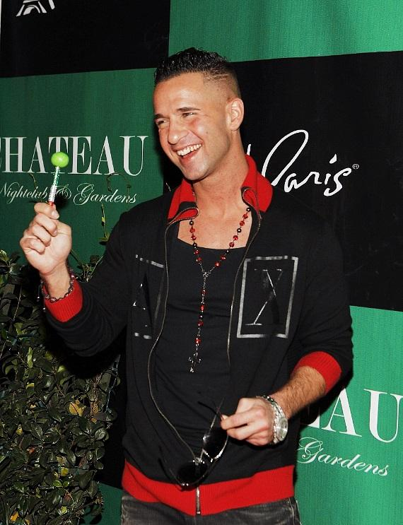 """Mike """"The Situation"""" Sorrentino with his signature couture pop on Chateau Gardens red carpet"""