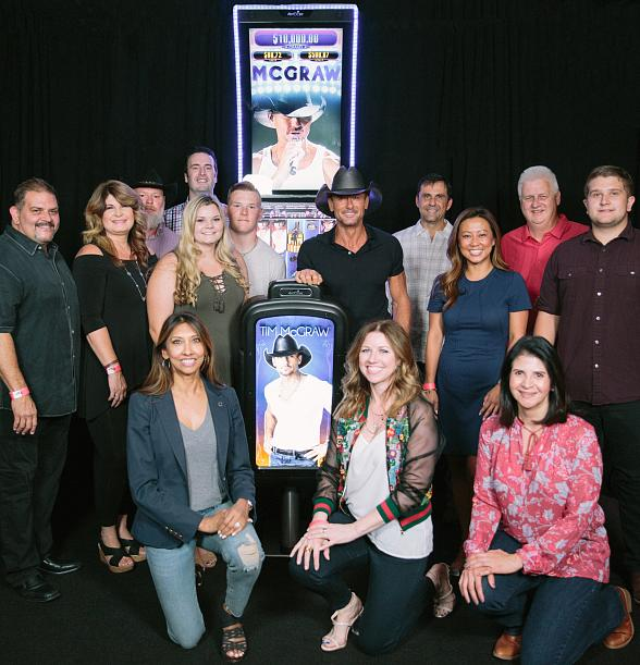 Country Music Star Tim McGraw with the New Tim McGraw Slot Game in Las Vegas
