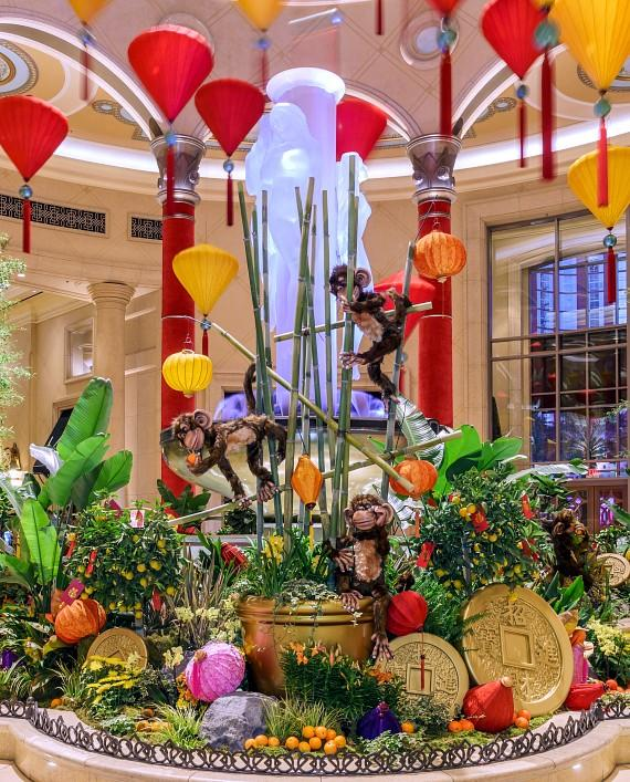 To create the 2016 Chinese New Year Display, The Palazzo floral team worked with a Feng Shui master