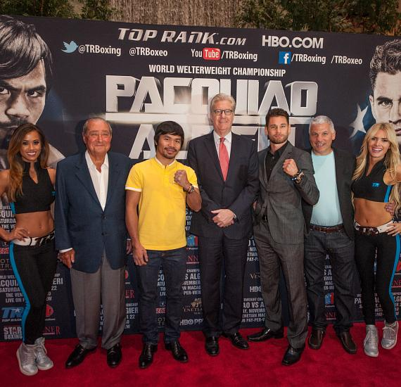 Top Rank CEO Bob Arum, Manny Pacquiao, President and CEO of Sands China Ltd Edward Tracy, Chris Algieri, Star Boxing President and CEO Joe DeGuardia