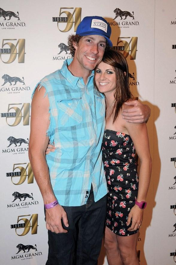 Travis Pastrana and Lyn-Z Adams Hawkins at Nitro Circus after-party at Studio 54 Las Vegas