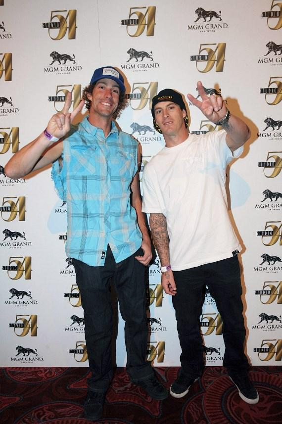 Travis Pastrana and Cam Sinclair at Nitro Circus after-party, Studio 54 Las Vegas