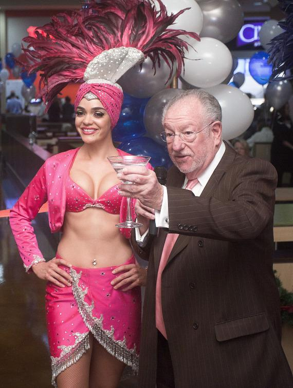 Former mayor Oscar Goodman makes a toast at Excalibur Hotel Casino's Castle Walk Food Court ribbon cutting ceremony