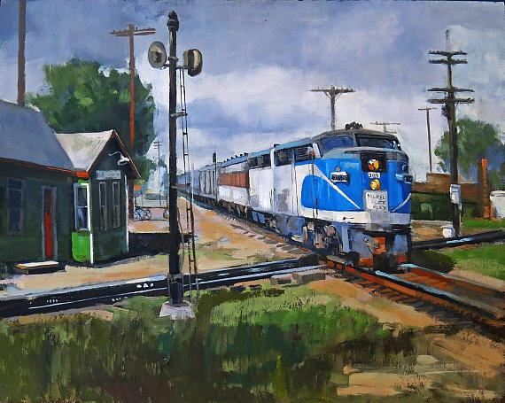"""2nd Place - Line' Tutwiler, Crossing the Diamond, oil, 11"""" x 14"""""""