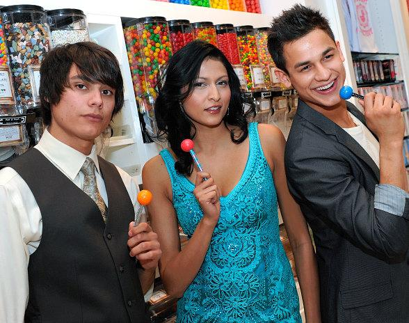 """Twilight"" wolf pack actors Kiowa Gordon (L), Tinsel Korey (C) and Bronson Pelletier (R) shopping at Sugar Factory at Paris Las Vegas"