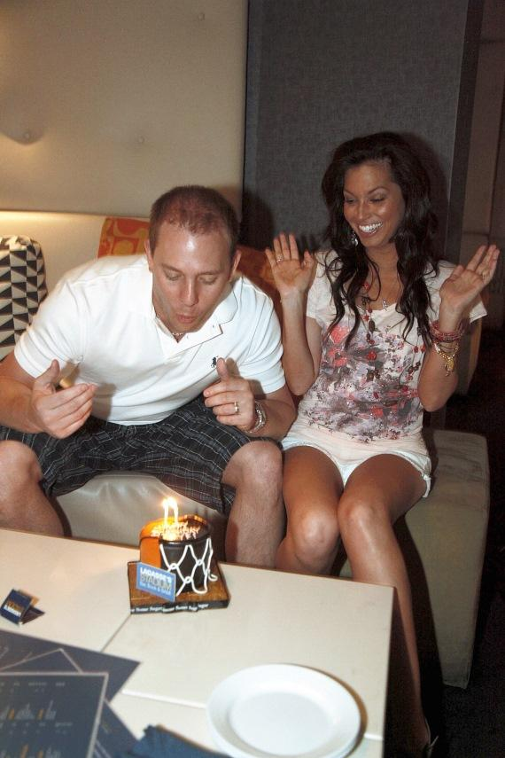 Tye blowing out candles at Lagasse Stadium in The Palazzo