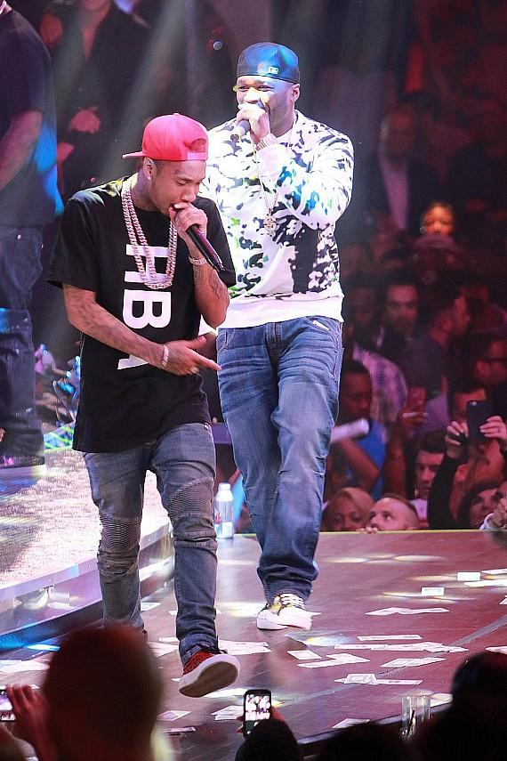 Tyga and 50 cent perform at Drai's Beachclub • Nightclub