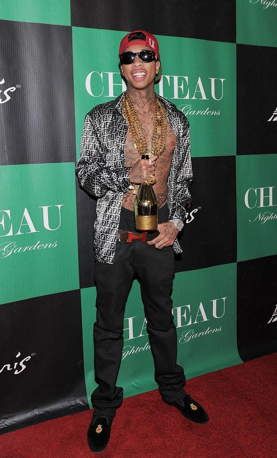 Tyga walks the red carpet at Chateau Nightclub & Gardens before his birthday celebration