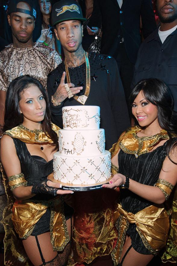 Tyga with birthday cake at TAO