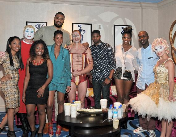 "Tyson Chandler enjoys a night out at ""O"" by Cirque du Soleil with wife Kimberly and friends at ""O"" by Cirque du Soleil"