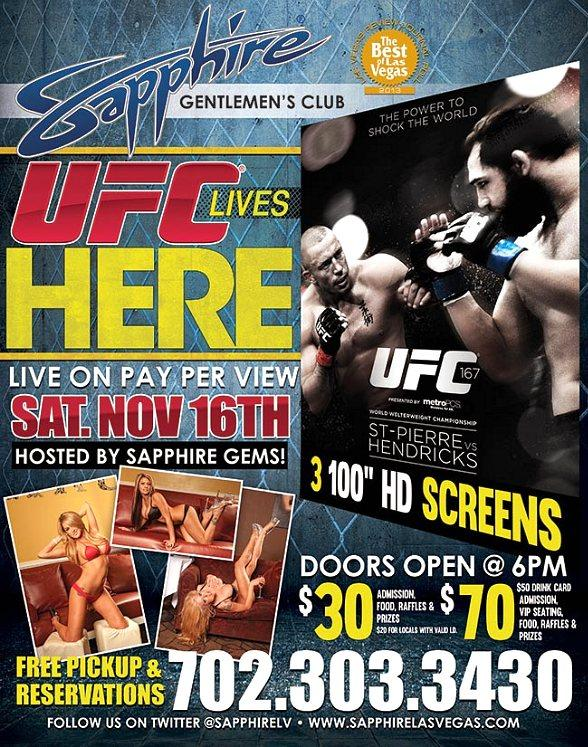 Watch UFC 167 Live on PPV at Sapphire Las Vegas Saturday, Nov. 16