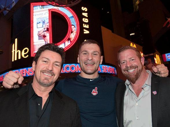 "UFC fighters Forrest Griffin and Stipe Miocic, Patriots' Nate Ebner, ""Counting Cars"" star Horny Mike and Alien Ant Farm singer Dryden Mitchell spotted at the D Las Vegas"
