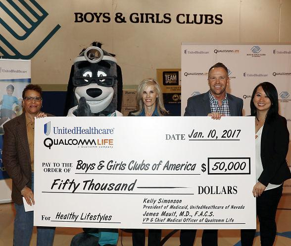 "UnitedHealthcare and Qualcomm Donate $50,000 to Boys & Girls Clubs of America Following ""5 Million Step Challenge"" at CES 2017"