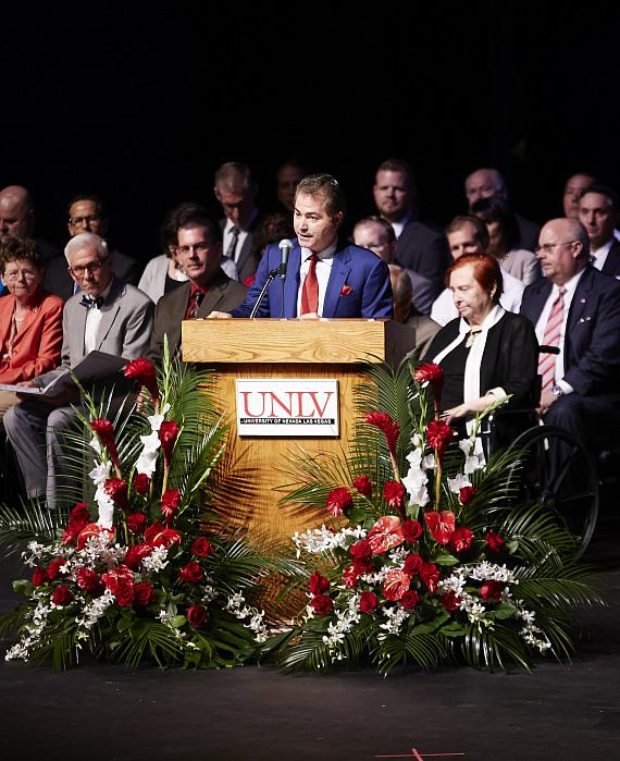 UNLV president Len Jessup speaks during the UNLV School of Medicine White Coat Ceremony at Artemus Ham Hall