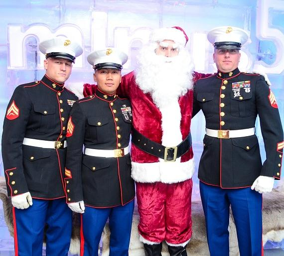 US Marines Cpl Baker, Sgt Yommalat and Sgt Ringgold accompanied by Santa at Minus5Ice Bar