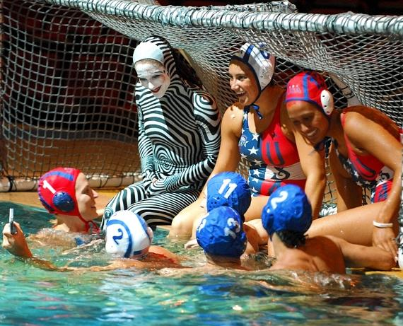 """USA Women's Water Polo team and """"O"""" cast members"""