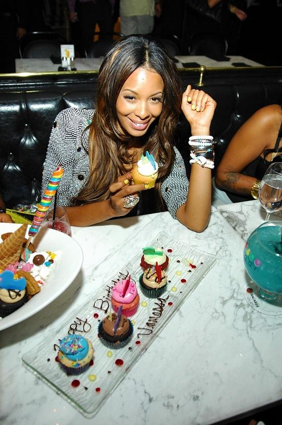 Vanessa Simmons presented with Happy Birthday cupcake platter at Sugar Factory
