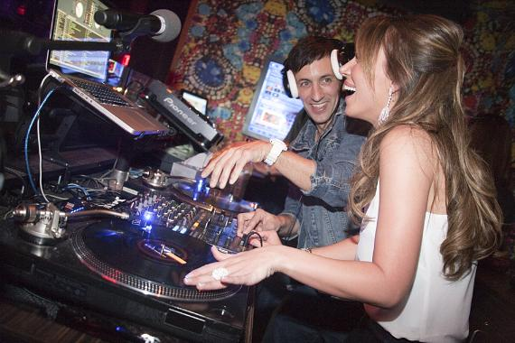 Haylie Duff with Clinton Sparks in DJ booth at Vanity