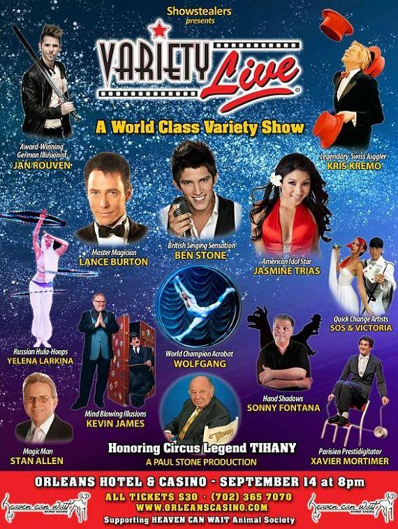 """Variety Live"" Show to  Feature Top European and Las Vegas Headliners at Orleans Hotel & Casino Sept. 14"