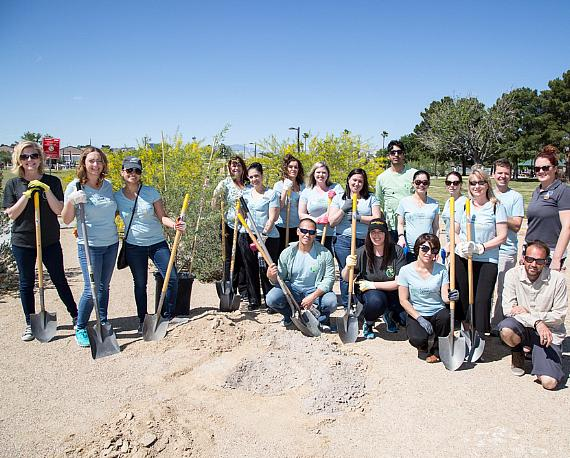 Venetian and Palazzo team members plant trees for Earth Day