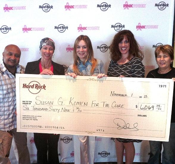 Véronic and Hard Rock Cafes in Las Vegas Donate to Susan G. Komen For The Cure